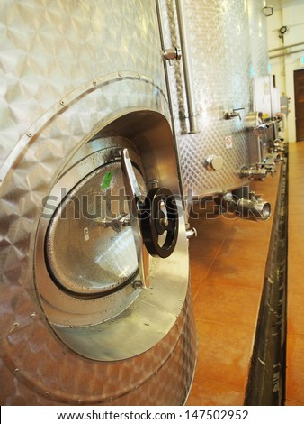 stainless barrel in winery,beverage industry. - stock photo