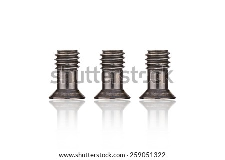 Stainless Black Screws ( bolts ) or nuts on the white background