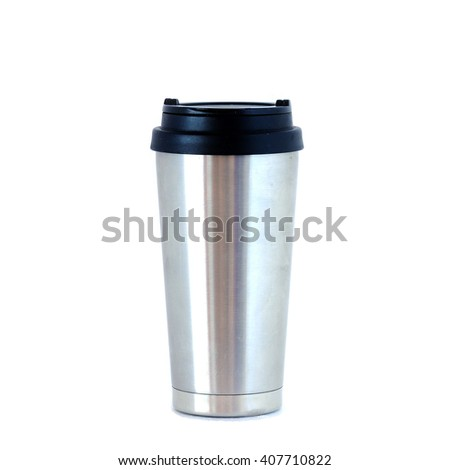 Stainless bottle on white background. - stock photo