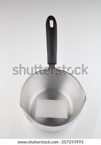 stainless cooking vessel, above view - stock photo