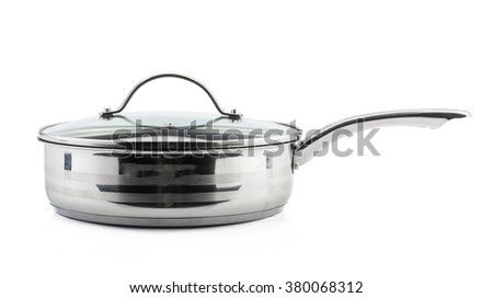 stainless frying pan with isolated on white - stock photo