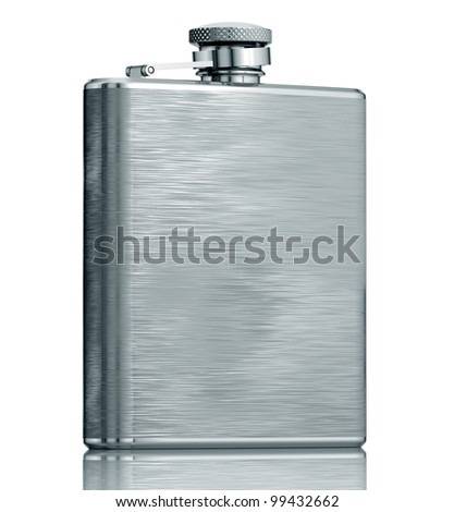 Stainless hip flask isolated on white background, 3d. - stock photo