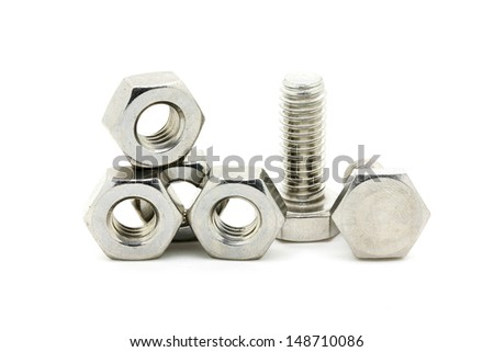 Stainless nut & screw - stock photo