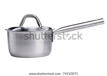 stainless pan  scoop isolated on white - stock photo