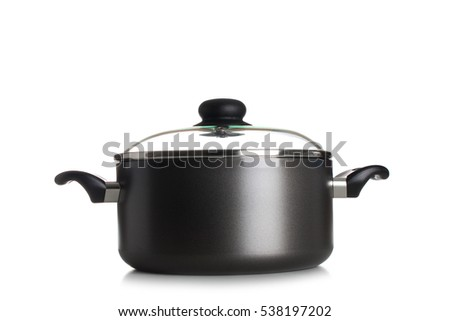 Stainless pan with open up glass cover isolated on a white background.