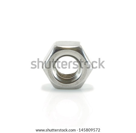 Stainless steel bolt and nut - stock photo