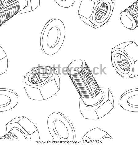 Stainless steel bolt and nut seamless wallpaper,  illustration - stock photo