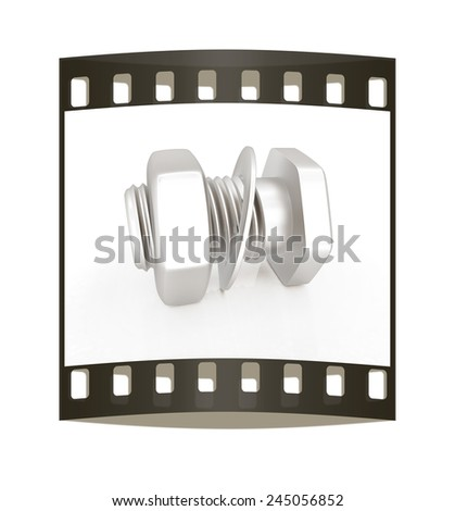 stainless steel bolts with a nuts and washers. The film strip - stock photo
