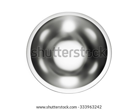 Stainless steel bowl isolated on a white background