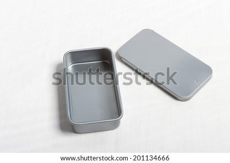 Stainless steel box isolated on white - stock photo