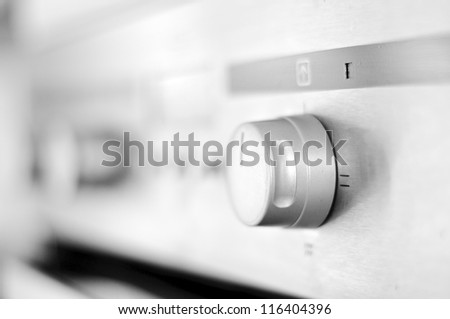 Stainless steel convection oven. - stock photo
