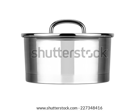 Stainless steel cooking pot - stock photo
