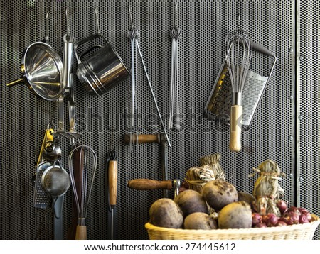 Stainless steel cookware , kitchenware set - stock photo