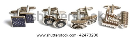 stainless steel cufflinks isolated on white background - stock photo