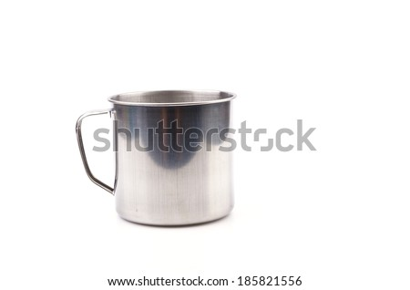 Stainless steel cup isolated white background - stock photo