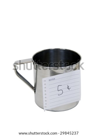 Stainless steel cup usually for drinking but now for holding items for sale - path included - stock photo