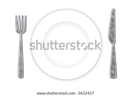 Stainless steel cutlery and white plate ready for your dessert!