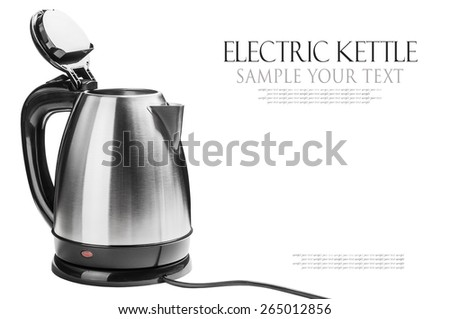 Stainless Steel Electric Kettle on the white background. text is an example of writing and can be easily removed. - stock photo
