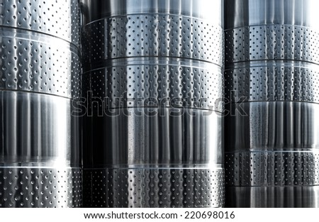 Stainless steel equipment for plant - stock photo