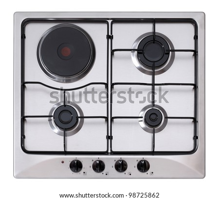 Stainless steel gas and electric hob isolated on white - stock photo