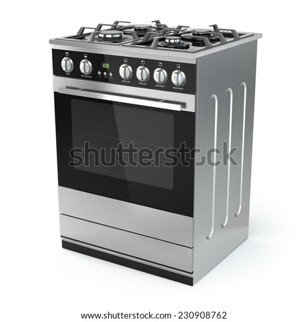 Stainless steel gas cooker with oven isolated on white. 3d - stock photo