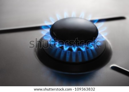 Stainless Steel Gas hob cooker - stock photo