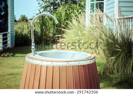 Stainless Steel Hand Wash Basin in Public Park. - stock photo