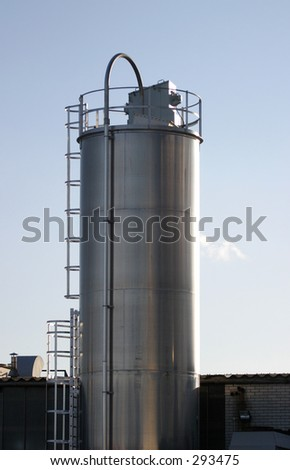 Stainless Steel Industrial Silo (Food Grade) - stock photo