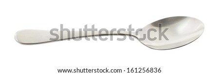 Stainless steel metal spoon isolated over white background - stock photo