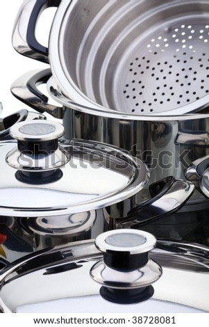 Stainless steel pans - stock photo