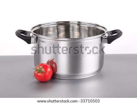Stainless steel pot - stock photo