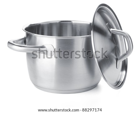 Stainless steel pot with cover. Isolated on white background - stock photo