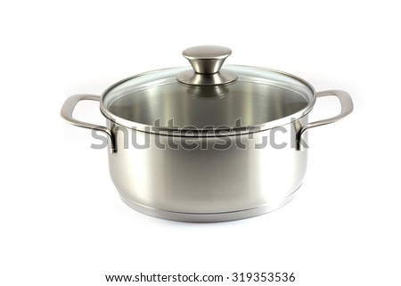 Stainless steel pot with glass cover isolated on white background