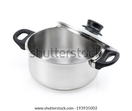 stainless steel pot with glass lid, black handle isolated