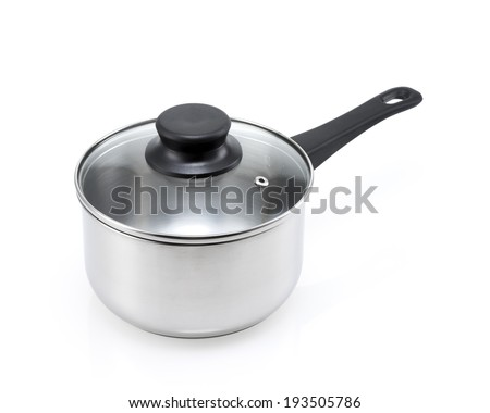 stainless steel pot with lid isolated - stock photo