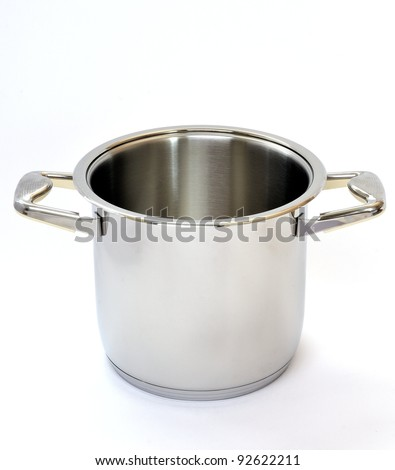 Stainless steel pot without cover. Isolated on white background