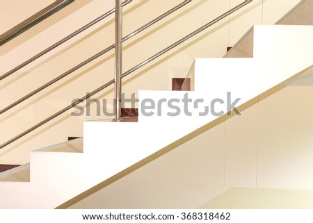 Stainless steel railing in the home office. - stock photo