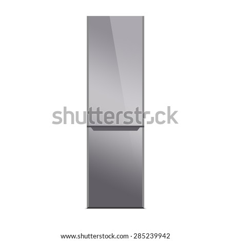 Stainless steel refrigerator isolated on white. Glossy finish. Silver - stock photo