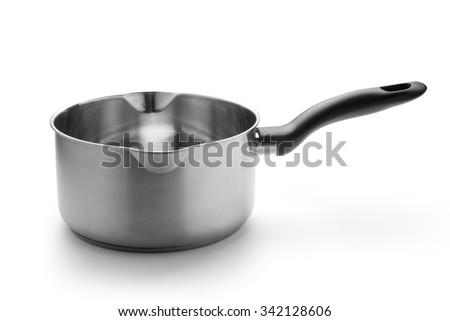 Stainless steel saucepan - stock photo