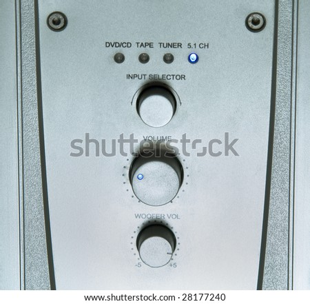 Stainless steel silver panel of amplifier receiver - stock photo