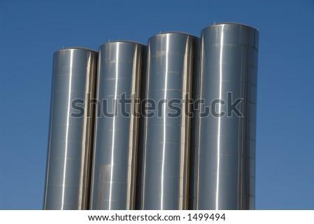 Stainless steel storage tanks, Tracy, California - stock photo