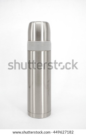 Stainless steel thermos flask isolated on white background. - stock photo