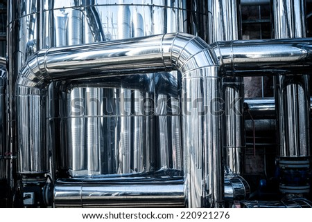 stainless steel tube at the factory, modernization and improvement - stock photo