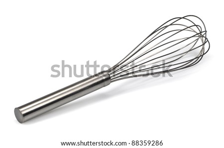 stainless steel whisk isolated on white background - stock photo