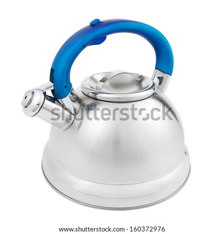 stainless tea kettle with whistle isolated on white background - stock photo