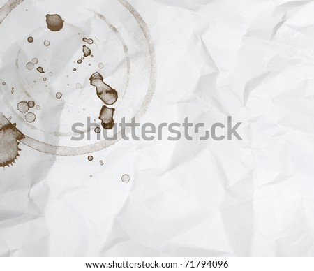 stains coffee on white paper background - stock photo