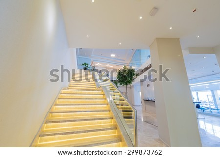 Stair case in the modern hotel interior - stock photo