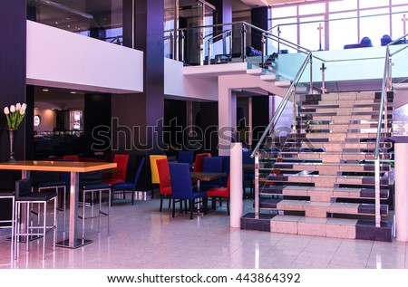 Stair case of an clubhouse bright illuminated - stock photo