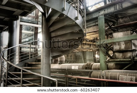 Stair of circle in abandoned factory with nobody.