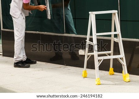 Stair prepare for cleaning process - stock photo